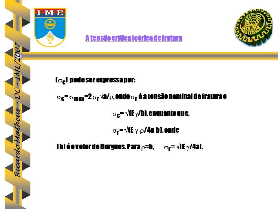 Ricardo Matheus - DC - IME/2007 A tensão crítica teórica de fraturaA tensão crítica teórica de fratura (  c ) pode ser expressa por:  c =  max =2 