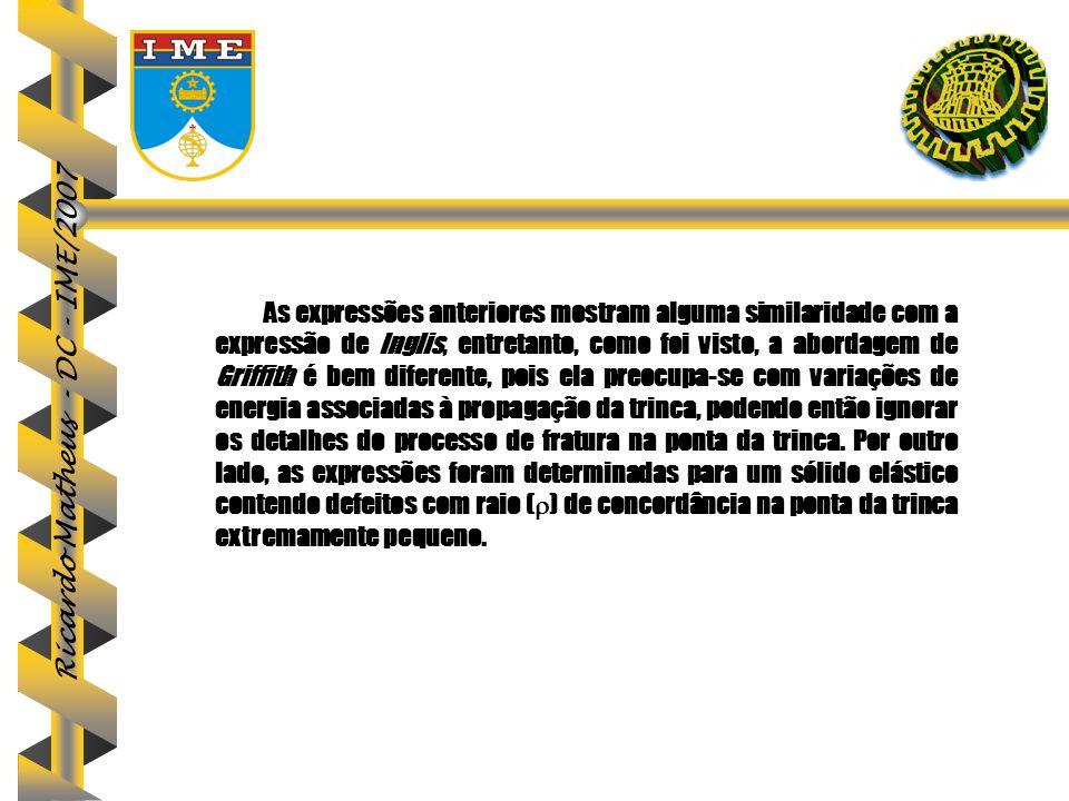 Ricardo Matheus - DC - IME/2007 As expressões anteriores mostram alguma similaridade com a expressão de Inglis, entretanto, como foi visto, a abordage