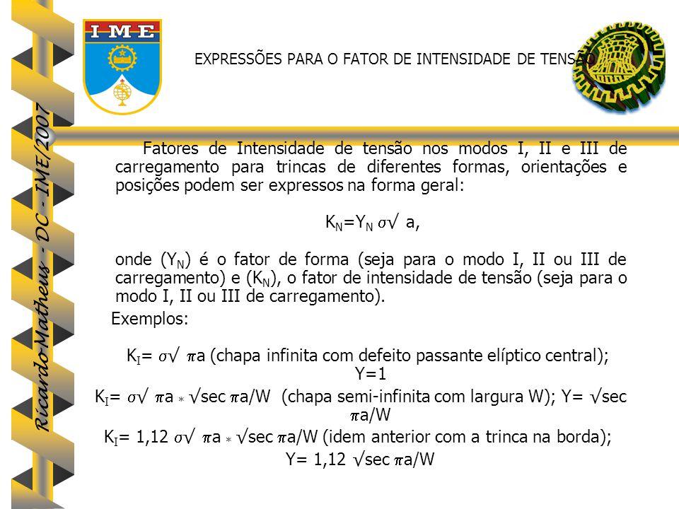 Ricardo Matheus - DC - IME/2007 EXPRESSÕES PARA O FATOR DE INTENSIDADE DE TENSÃO Fatores de Intensidade de tensão nos modos I, II e III de carregament