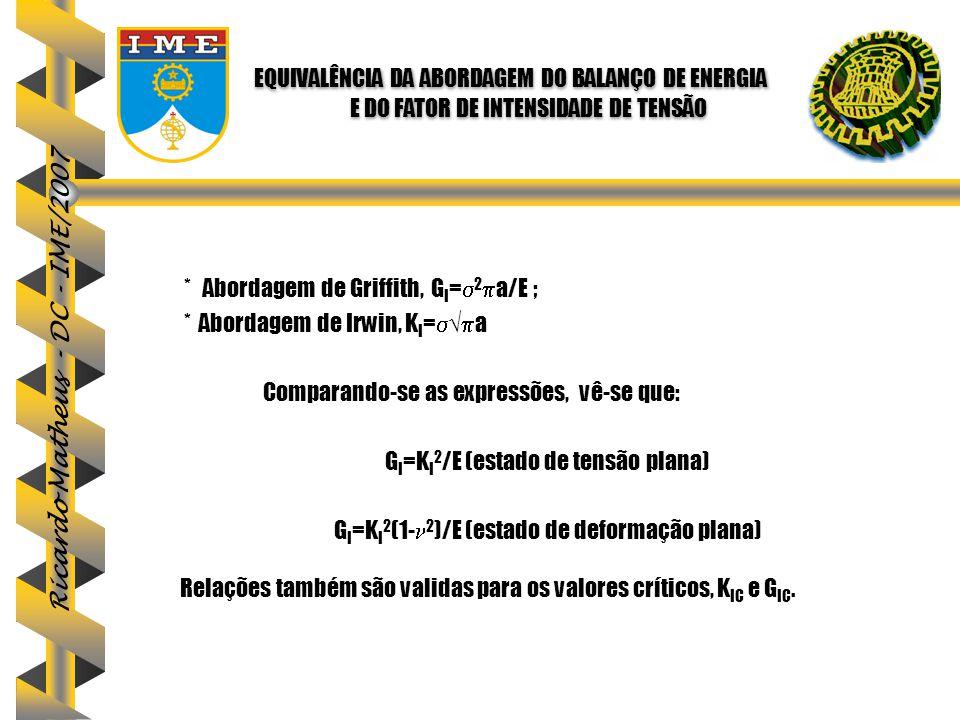 Ricardo Matheus - DC - IME/2007 * Abordagem de Griffith, G I =  2  a/E ; * Abordagem de Irwin, K I =  √  a Comparando-se as expressões, vê-se que: