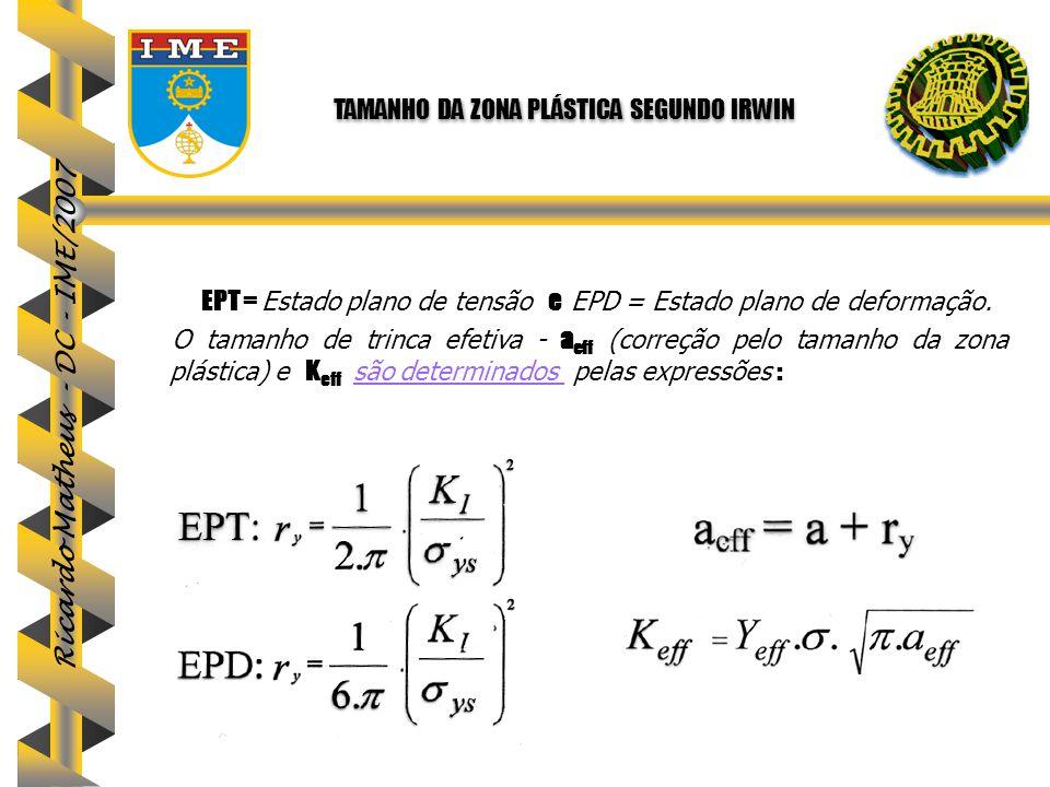 Ricardo Matheus - DC - IME/2007 EPT = Estado plano de tensão e EPD = Estado plano de deformação. O tamanho de trinca efetiva - a eff (correção pelo ta