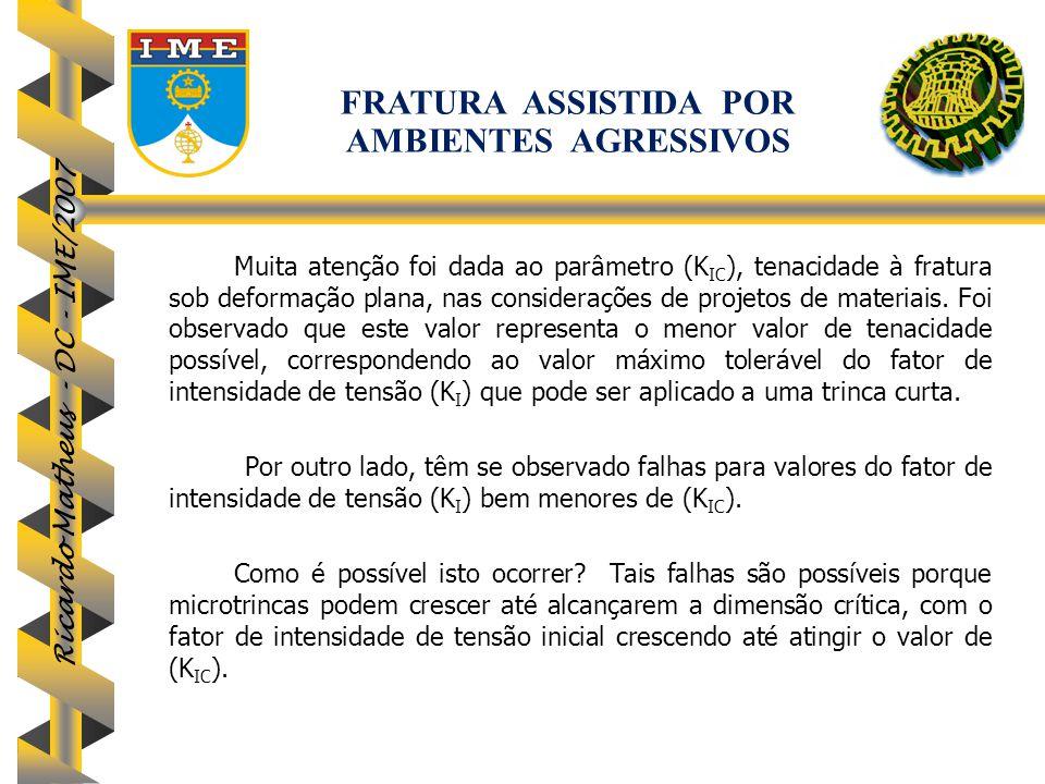 Ricardo Matheus - DC - IME/2007 Muita atenção foi dada ao parâmetro (K IC ), tenacidade à fratura sob deformação plana, nas considerações de projetos