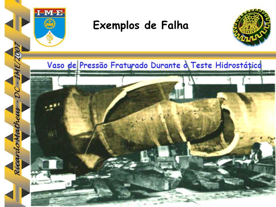Ricardo Matheus - DC - IME/2007 Exemplos de Falha Vaso de Pressão Fraturado Durante o Teste Hidrostático