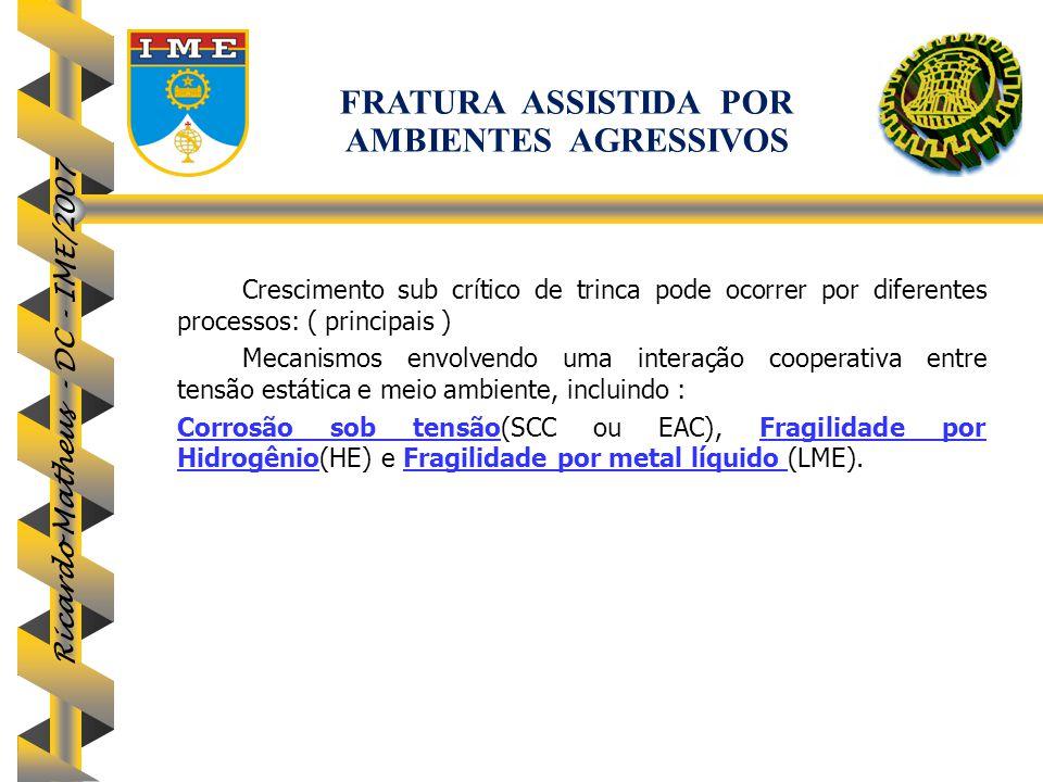 Ricardo Matheus - DC - IME/2007 Crescimento sub crítico de trinca pode ocorrer por diferentes processos: ( principais ) Mecanismos envolvendo uma inte