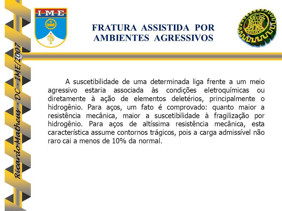 Ricardo Matheus - DC - IME/2007 A suscetibilidade de uma determinada liga frente a um meio agressivo estaria associada às condições eletroquímicas ou
