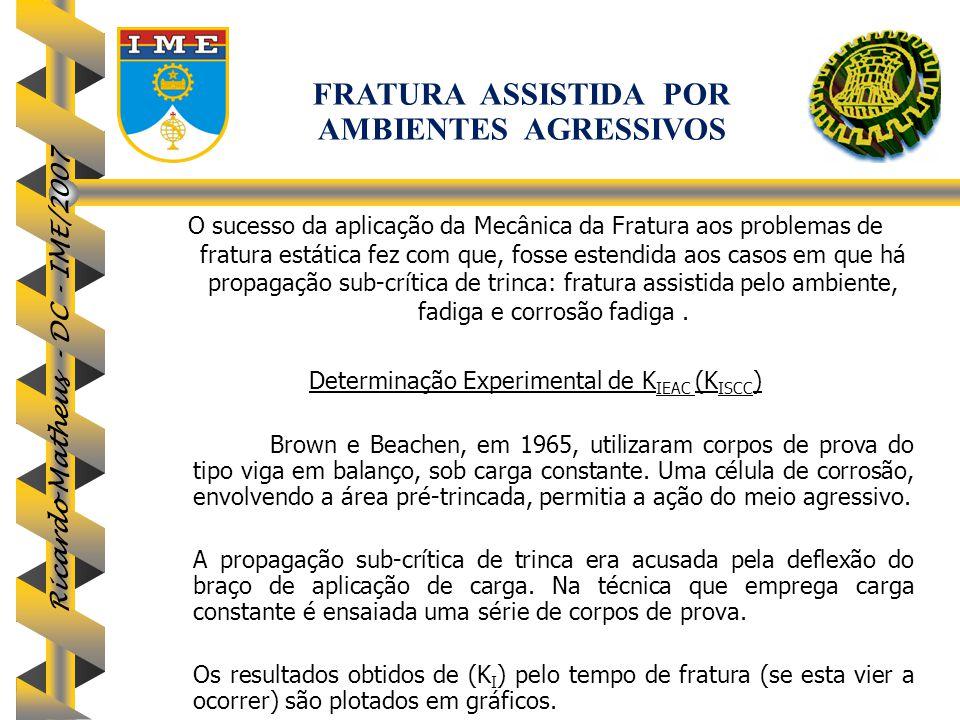Ricardo Matheus - DC - IME/2007 O sucesso da aplicação da Mecânica da Fratura aos problemas de fratura estática fez com que, fosse estendida aos casos