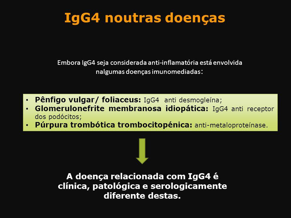 IgG4 noutras doenças Embora IgG4 seja considerada anti-inflamatória está envolvida nalgumas doenças imunomediadas : Pênfigo vulgar/ foliaceus: IgG4 an