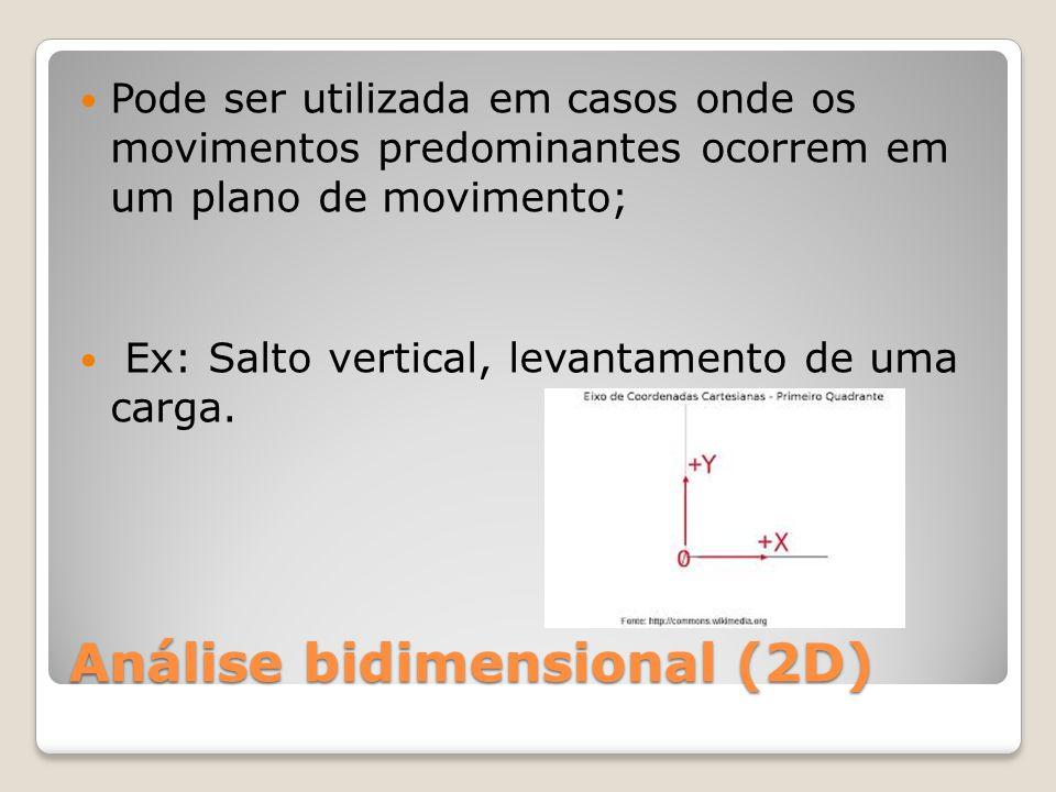 Análise bidimensional (2D) Pode ser utilizada em casos onde os movimentos predominantes ocorrem em um plano de movimento; Ex: Salto vertical, levantamento de uma carga.