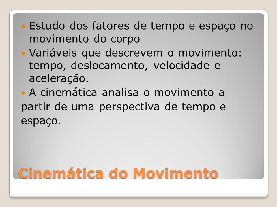 Cinemática do Movimento Estudo dos fatores de tempo e espaço no movimento do corpo Variáveis que descrevem o movimento: tempo, deslocamento, velocidade e aceleração.