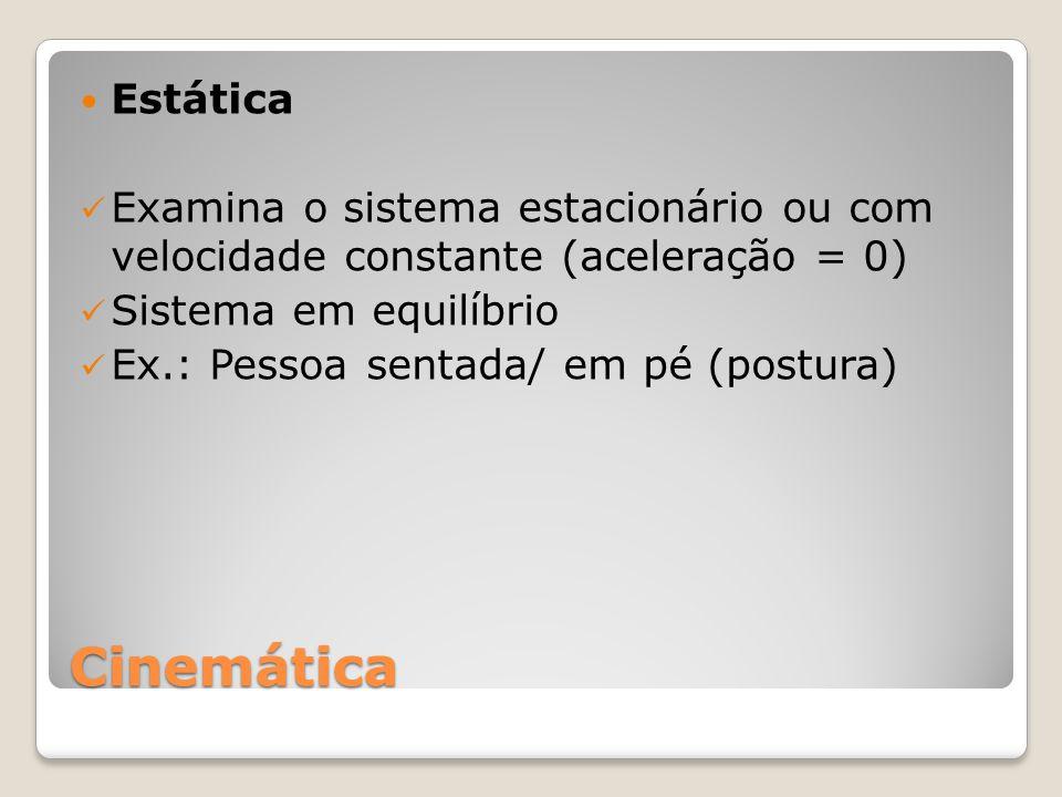 Cinemática Estática Examina o sistema estacionário ou com velocidade constante (aceleração = 0) Sistema em equilíbrio Ex.: Pessoa sentada/ em pé (postura)