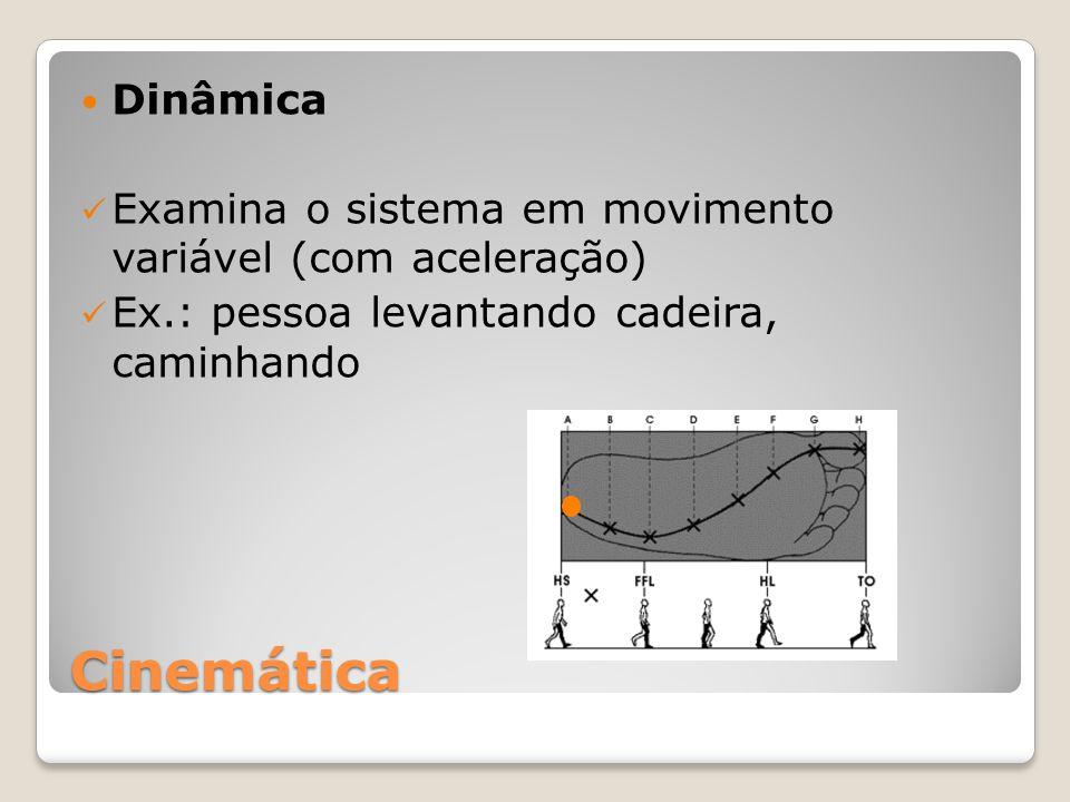 Cinemática Dinâmica Examina o sistema em movimento variável (com aceleração) Ex.: pessoa levantando cadeira, caminhando