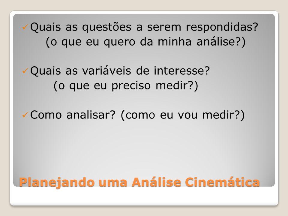 Planejando uma Análise Cinemática Quais as questões a serem respondidas.