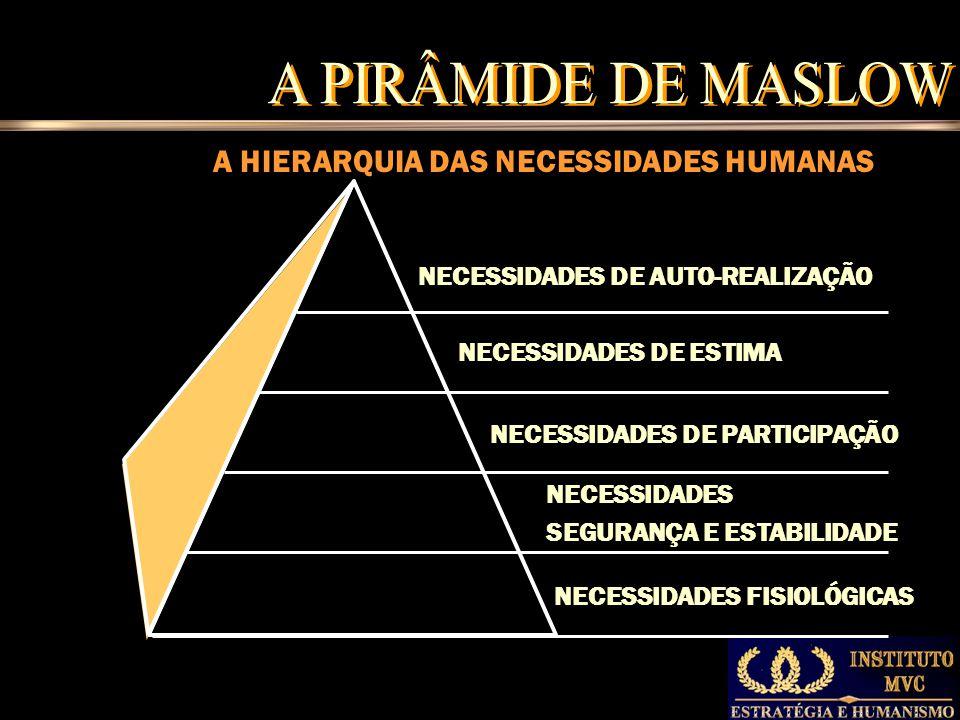 A HIERARQUIA DAS NECESSIDADES HUMANAS NECESSIDADES FISIOLÓGICAS NECESSIDADES SEGURANÇA E ESTABILIDADE NECESSIDADES DE PARTICIPAÇÃO NECESSIDADES DE ESTIMA NECESSIDADES DE AUTO-REALIZAÇÃO