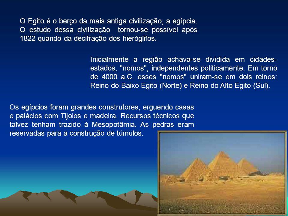 O Egito é o berço da mais antiga civilização, a egípcia. O estudo dessa civilização tornou-se possível após 1822 quando da decifração dos hieróglifos.