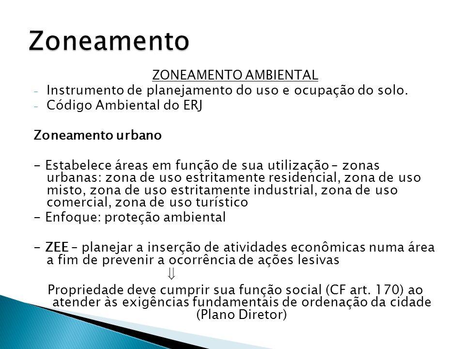 ZONEAMENTO AMBIENTAL - Instrumento de planejamento do uso e ocupação do solo. - Código Ambiental do ERJ Zoneamento urbano - Estabelece áreas em função