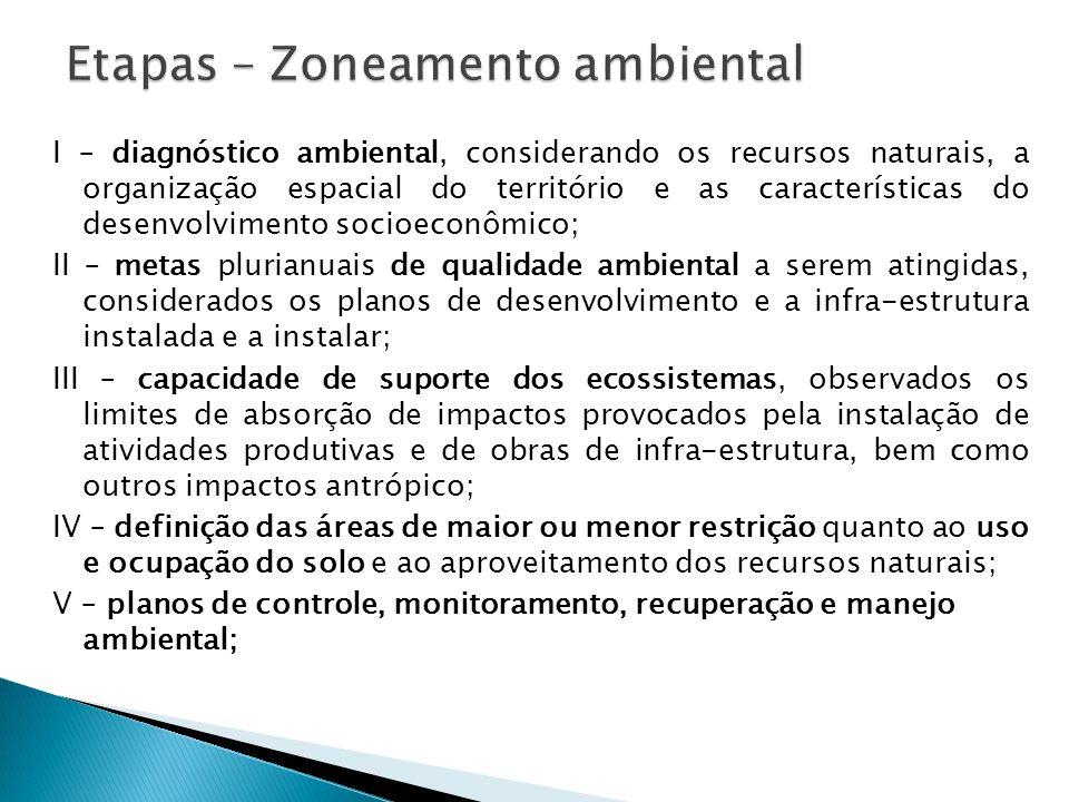 I – diagnóstico ambiental, considerando os recursos naturais, a organização espacial do território e as características do desenvolvimento socioeconôm