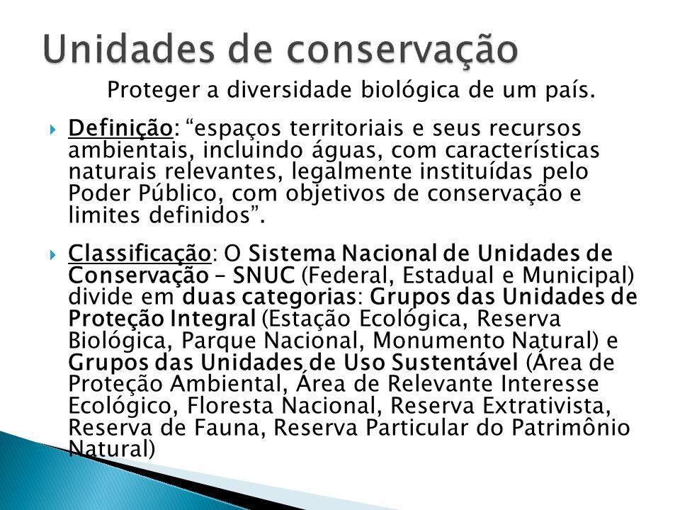 """Proteger a diversidade biológica de um país.  Definição: """"espaços territoriais e seus recursos ambientais, incluindo águas, com características natur"""