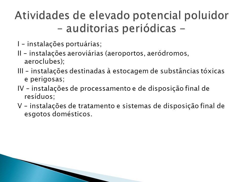 I – instalações portuárias; II – instalações aeroviárias (aeroportos, aeródromos, aeroclubes); III – instalações destinadas à estocagem de substâncias