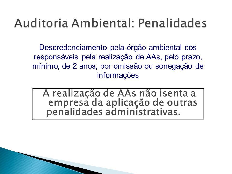 A realização de AAs não isenta a empresa da aplicação de outras penalidades administrativas. Descredenciamento pela órgão ambiental dos responsáveis p