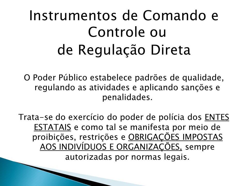 Instrumentos de Comando e Controle ou de Regulação Direta O Poder Público estabelece padrões de qualidade, regulando as atividades e aplicando sanções