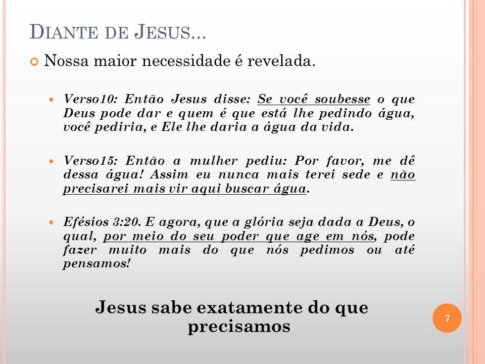 D IANTE DE J ESUS... Nossa maior necessidade é revelada. Verso10: Então Jesus disse: Se você soubesse o que Deus pode dar e quem é que está lhe pedind