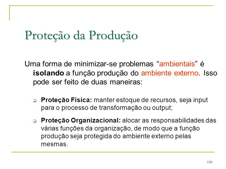 Proteção da Produção 105 Os gerentes de produção devem procurar minimizar problemas e proteger a produção do ambiente externo.