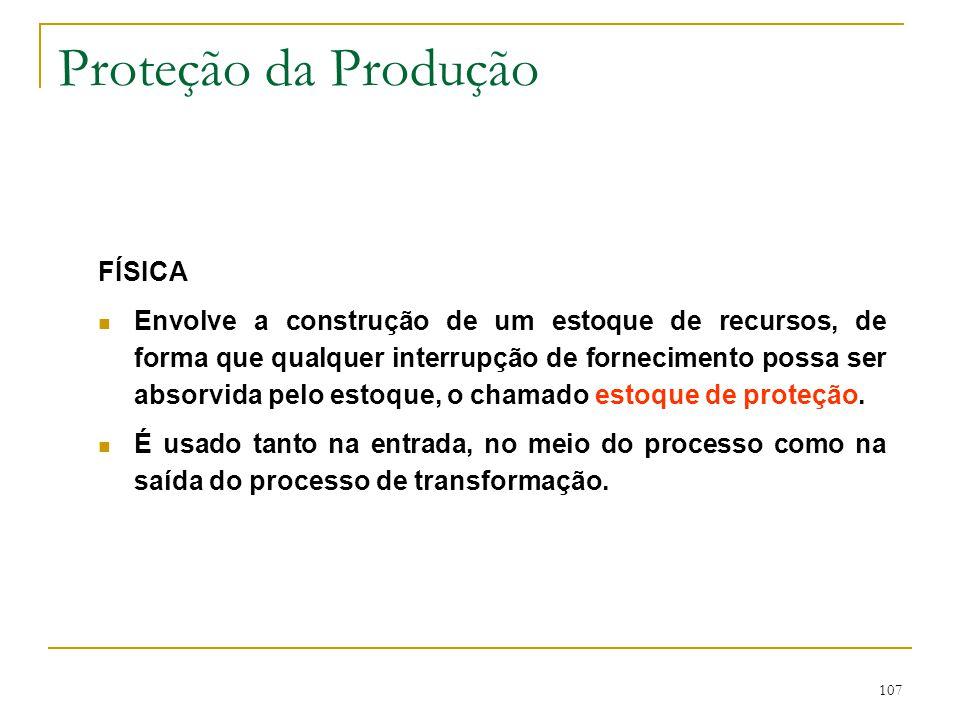 Proteção da Produção Uma forma de minimizar-se problemas ambientais é isolando a função produção do ambiente externo.