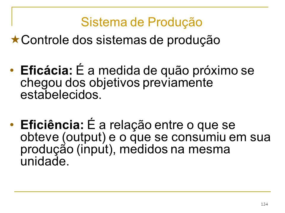 133 Sistema de Produção Processo De Conversão INSUMOS PRODUTOS E SERVIÇOS SUBSISTEMA DE CONTROLE