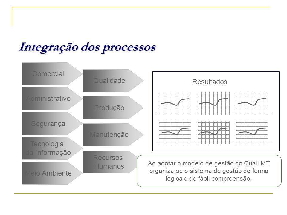 Integração dos processos Administrativo Comercial Recursos Humanos Segurança Produção Meio Ambiente Tecnologia da Informação Qualidade Manutenção J F M A M J Resultados .