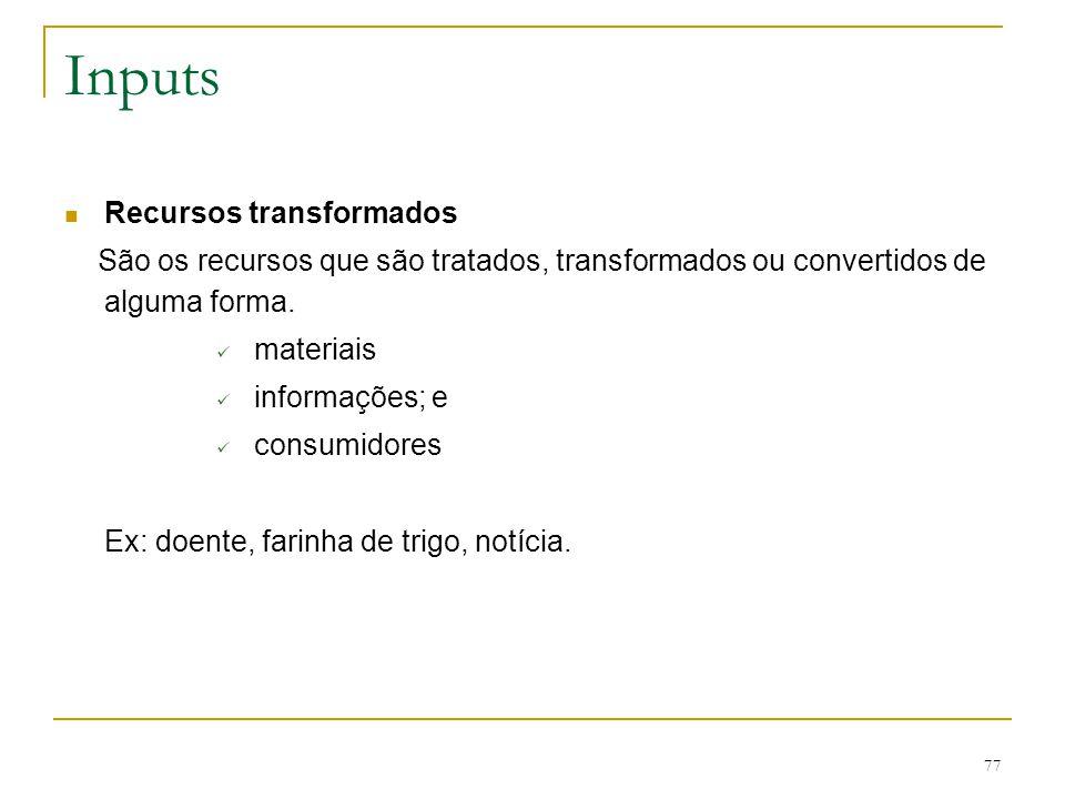Processo de Transformação:  Conversão real de entradas em saídas; 76 Conceito de processo de transformação Davis et al, 2001