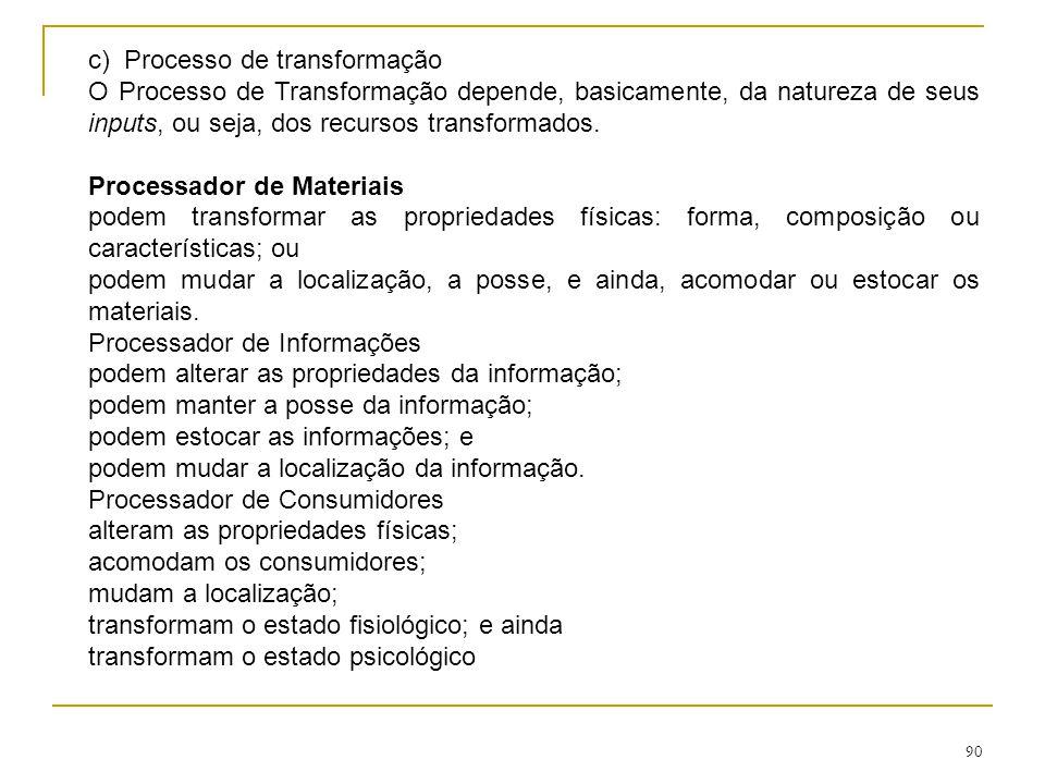 89 b) Recursos de transformação são aqueles que agem sobre os recursos transformados.