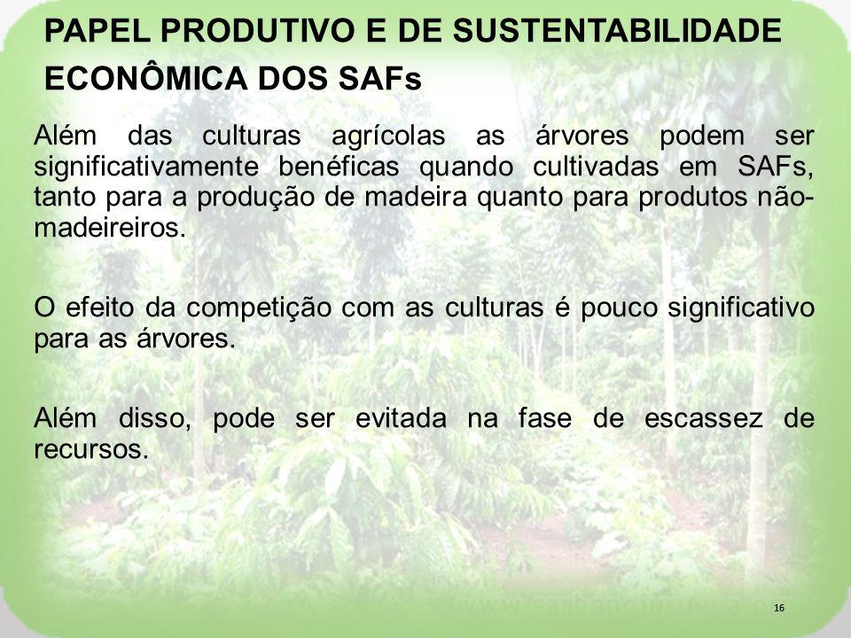 Além das culturas agrícolas as árvores podem ser significativamente benéficas quando cultivadas em SAFs, tanto para a produção de madeira quanto para produtos não- madeireiros.