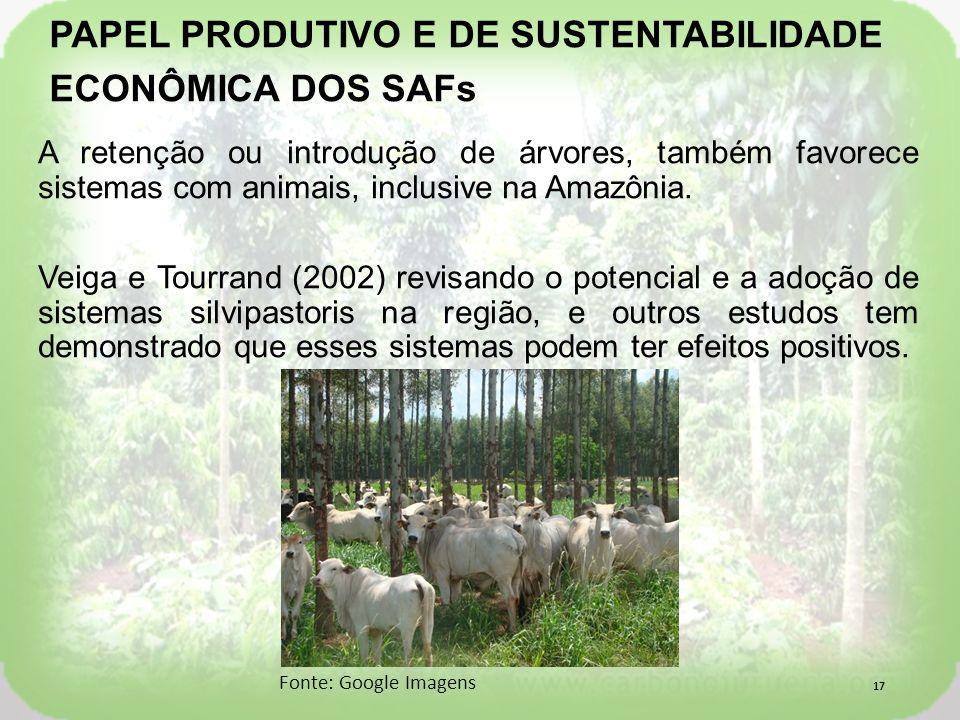 A retenção ou introdução de árvores, também favorece sistemas com animais, inclusive na Amazônia.