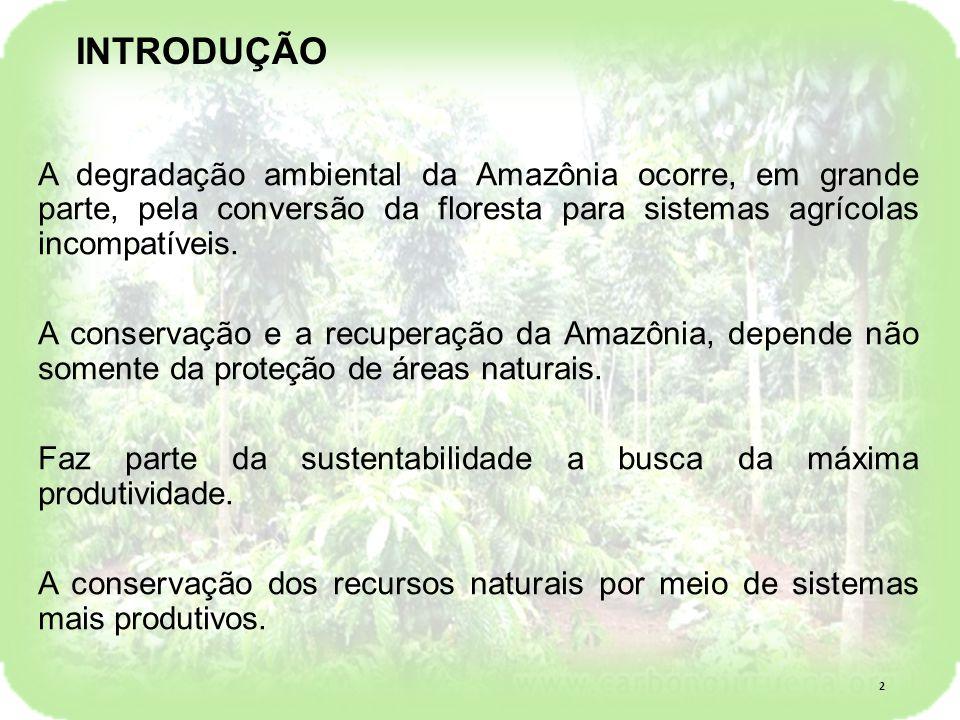 INTRODUÇÃO A degradação ambiental da Amazônia ocorre, em grande parte, pela conversão da floresta para sistemas agrícolas incompatíveis.