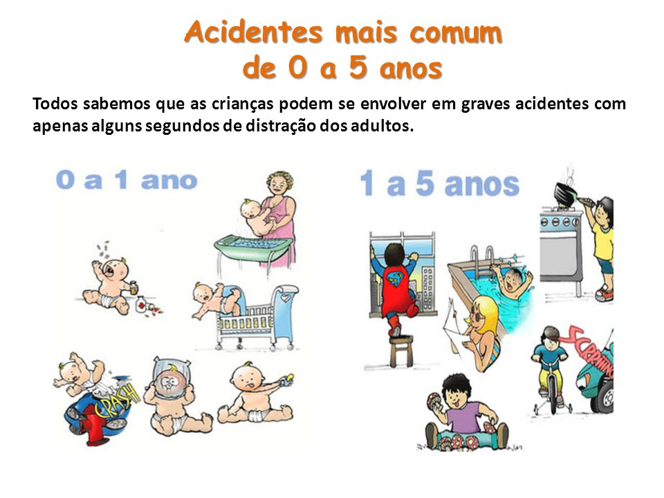 Todos sabemos que as crianças podem se envolver em graves acidentes com apenas alguns segundos de distração dos adultos. Acidentes mais comum de 0 a 5