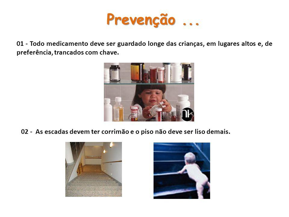 01 - Todo medicamento deve ser guardado longe das crianças, em lugares altos e, de preferência, trancados com chave.