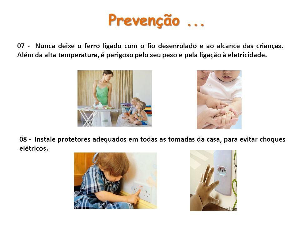 07 - Nunca deixe o ferro ligado com o fio desenrolado e ao alcance das crianças.