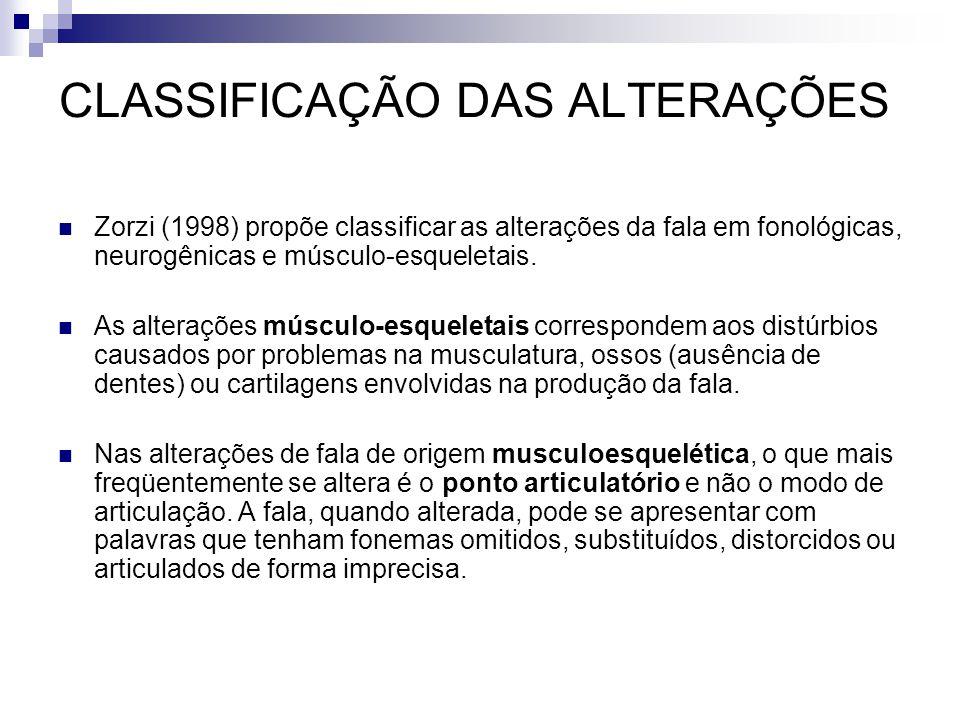 Zorzi (1998) propõe classificar as alterações da fala em fonológicas, neurogênicas e músculo-esqueletais. As alterações músculo-esqueletais correspond