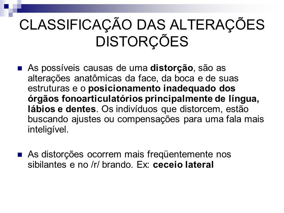 As possíveis causas de uma distorção, são as alterações anatômicas da face, da boca e de suas estruturas e o posicionamento inadequado dos órgãos fono