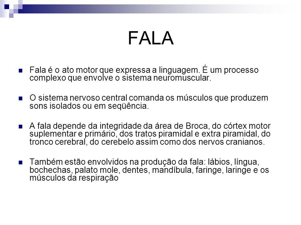 FALA Fala é o ato motor que expressa a linguagem. É um processo complexo que envolve o sistema neuromuscular. O sistema nervoso central comanda os mús
