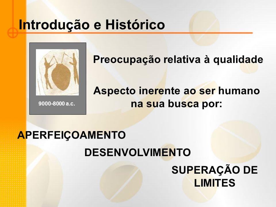 Introdução e Histórico Preocupação relativa à qualidade 9000-8000 a.c. Aspecto inerente ao ser humano na sua busca por: APERFEIÇOAMENTO DESENVOLVIMENT