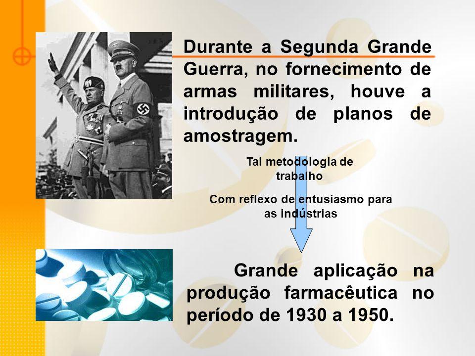 Durante a Segunda Grande Guerra, no fornecimento de armas militares, houve a introdução de planos de amostragem. Com reflexo de entusiasmo para as ind