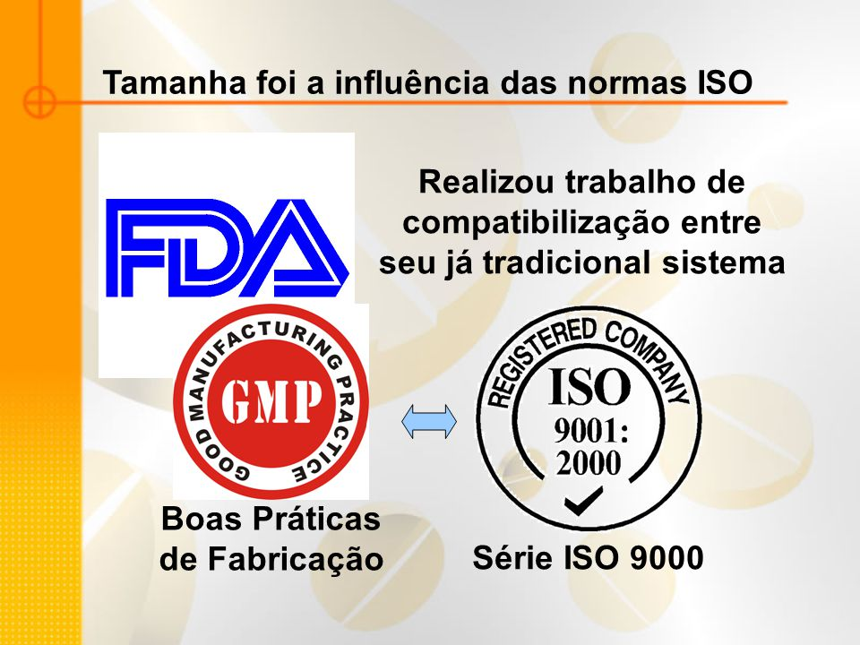 Tamanha foi a influência das normas ISO Realizou trabalho de compatibilização entre seu já tradicional sistema Boas Práticas de Fabricação Série ISO 9