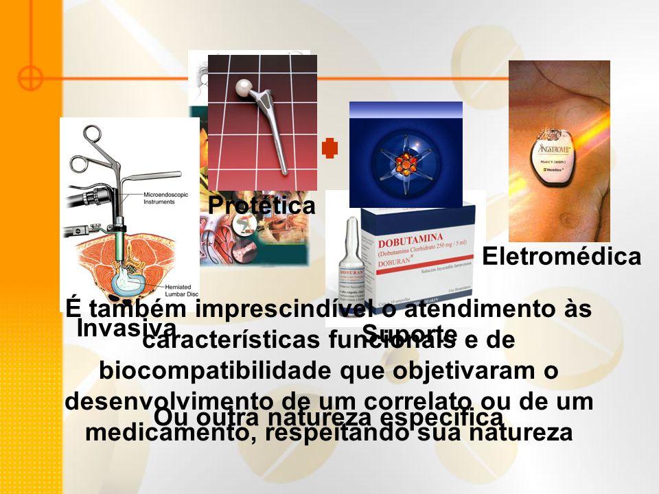 Invasiva Protética Suporte Eletromédica É também imprescindível o atendimento às características funcionais e de biocompatibilidade que objetivaram o