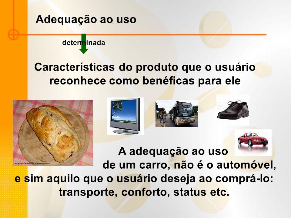 Adequação ao uso determinada Características do produto que o usuário reconhece como benéficas para ele A adequação ao uso de um carro, não é o automó