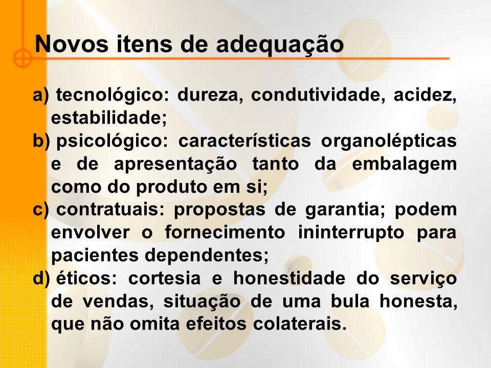 Novos itens de adequação a) tecnológico: dureza, condutividade, acidez, estabilidade; b) psicológico: características organolépticas e de apresentação
