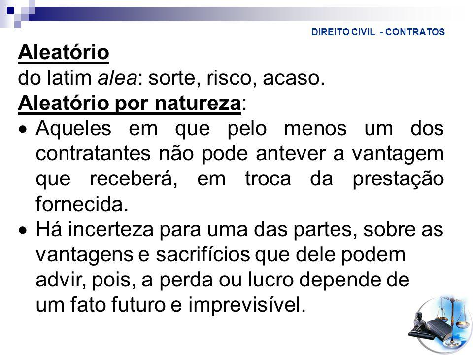 DIREITO CIVIL - CONTRATOS Aleatório do latim alea: sorte, risco, acaso.