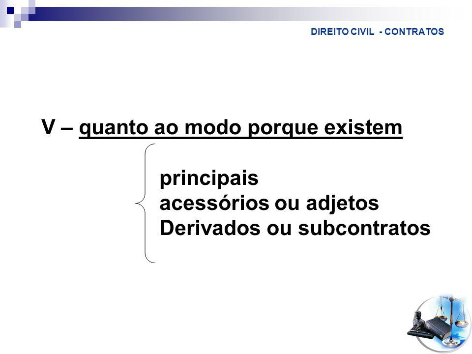 DIREITO CIVIL - CONTRATOS V – quanto ao modo porque existem principais acessórios ou adjetos Derivados ou subcontratos