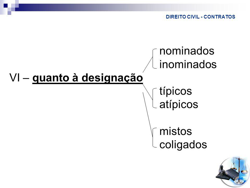 DIREITO CIVIL - CONTRATOS nominados inominados VI – quanto à designação típicos atípicos mistos coligados
