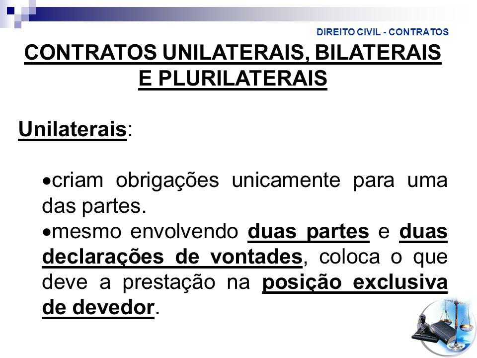 DIREITO CIVIL - CONTRATOS CONTRATOS UNILATERAIS, BILATERAIS E PLURILATERAIS Unilaterais:  criam obrigações unicamente para uma das partes.